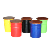 Khyland Industrial Storage Drum Stool in yellow, red, black, blue, green.