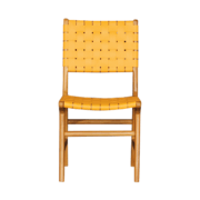 Tiana Teak Leather Strap Chair_YELLOW for dining room
