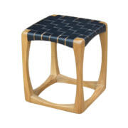 Wendie Teak Leather Strap Side Table BLACK furniture singapore
