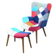scandinavian fabric arm chair with footrest