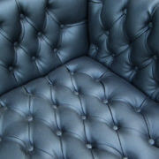 Kagen Teak Synthetic Leather Chesterfield Sofa Black (3)
