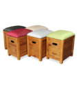 Samara Teak Storage Stool in multi color fabric